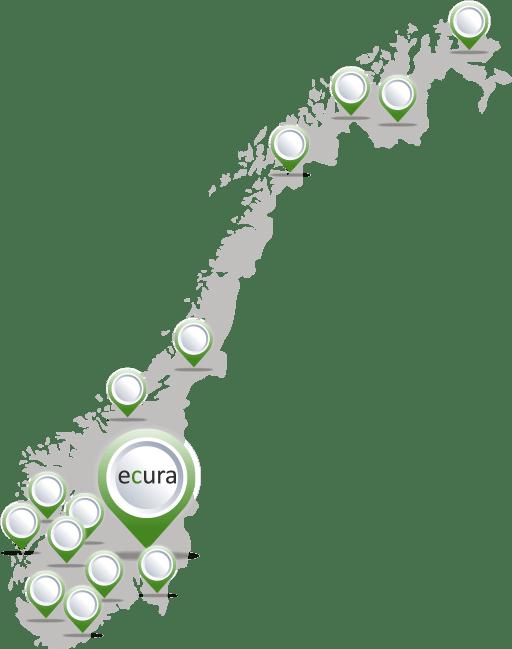 Norgeskart med avmerking der du kan finne Ecura BPA i Norge.